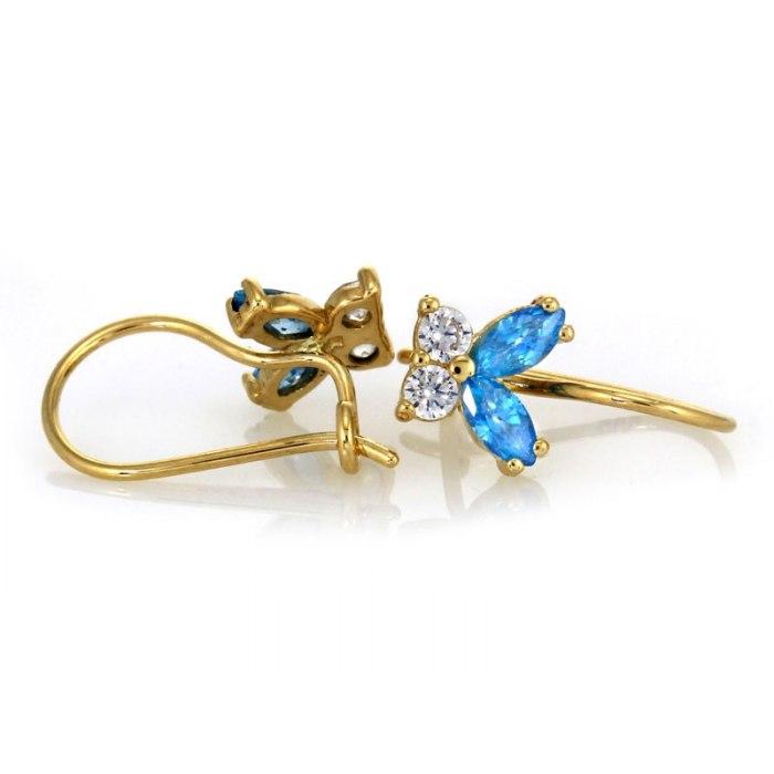 Złote kolczyki 585 błękitne motylki + pudełko