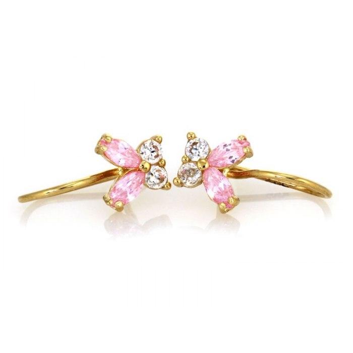 Złote kolczyki 585 różowe motylki + pudełko