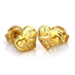Złote 0,333 kolczyki serca serce