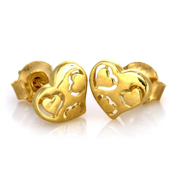 Złote 0,333 kolczyki serca wysadzane cyrkonie