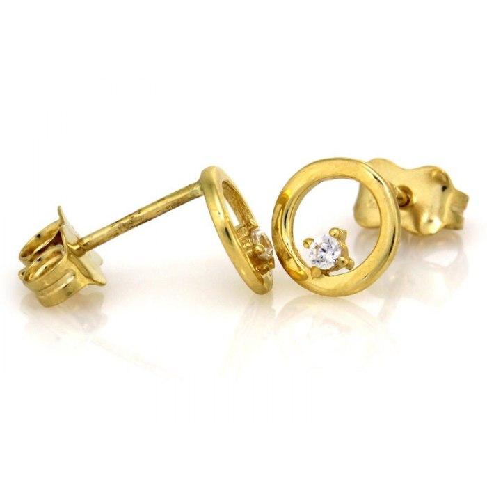 Złote 333 kolczyki obręcze z cyrkonią