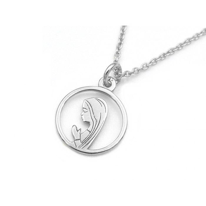 Srebrny naszyjnik z Matką Boską Fatimską