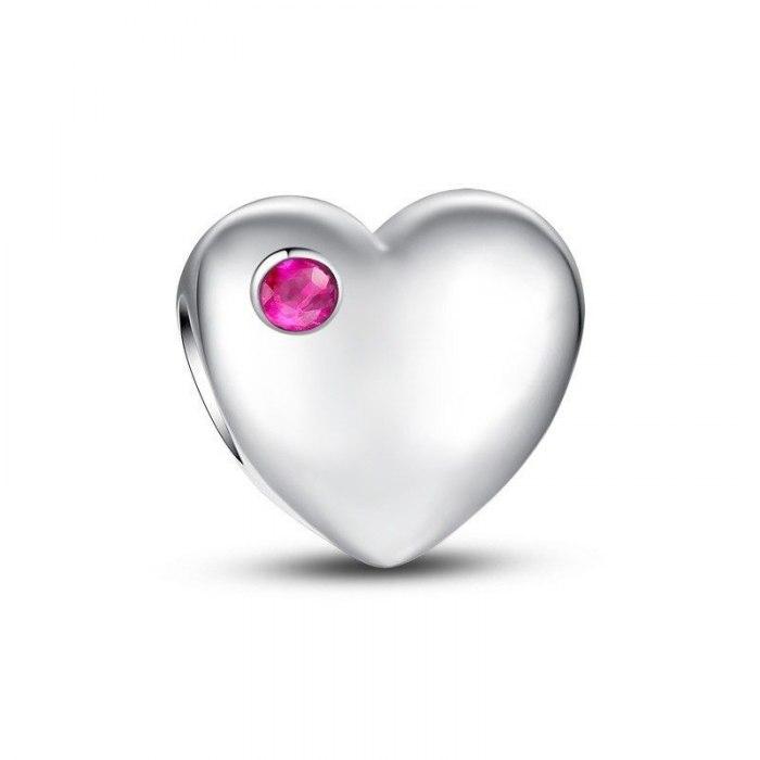 Srebrny koralik modułowy serce z cyrkonią Beads