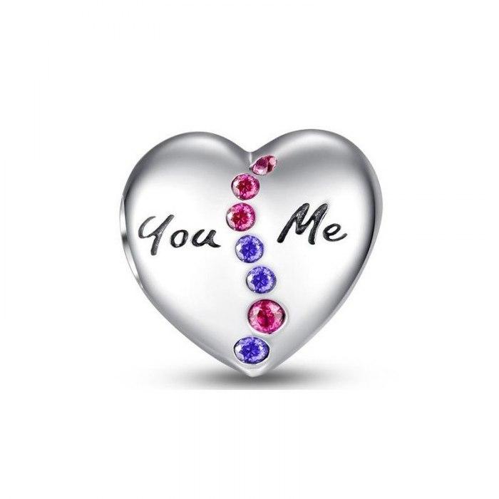 Srebrny koralik modułowy Beads serce YOU ME