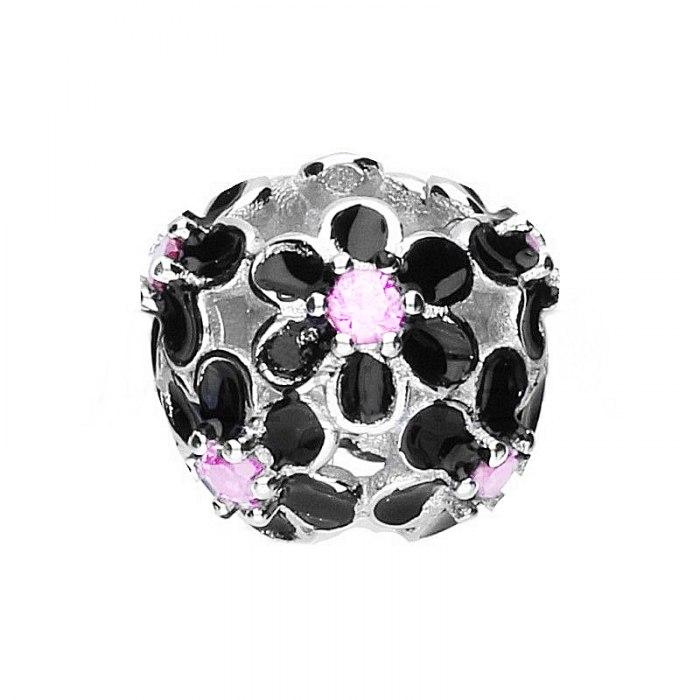Srebrny koralik modułowy czarne kwiaty Beads