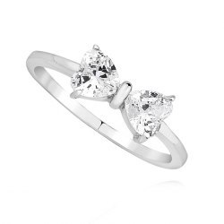 Srebrny pierścionek kokarda serca crystal