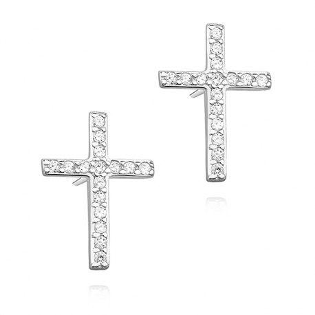 Srebrne kolczyki krzyże z cyrkoniami
