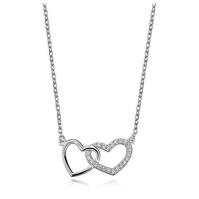 Srebrny naszyjnik podwójne serce z cyrkoniami