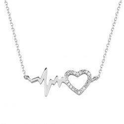 Srebrny naszyjnik puls serce z cyrkoniami