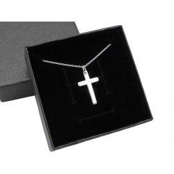 Srebrny naszyjnik z małym krzyżem + pudełko