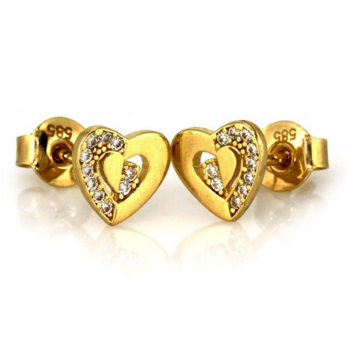 Złote 333 kolczyki serca wysadzane cyrkonie