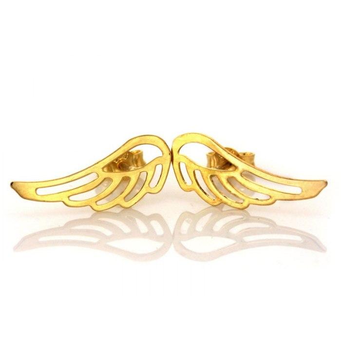 Złote 0,333 kolczyki ażurowe skrzydła