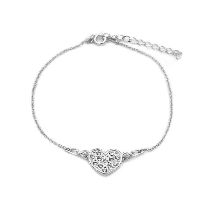 Srebrna bransoletka serce z cyrkoniami