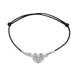 Srebrna sznurkowa bransoletka serce z cyrkoniami