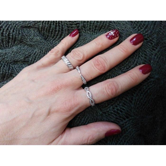 Srebrny zdobiony pierścionek z cyrkoniami