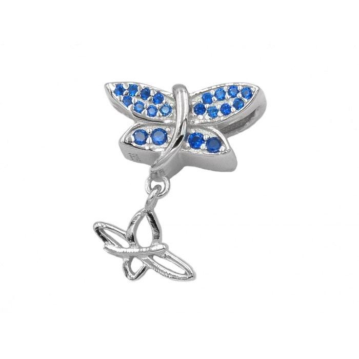 Srebrny koralik modułowy motyl Beads