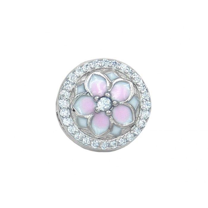 Srebrny koralik modułowy kwiatek Beads