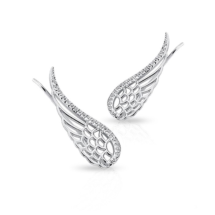 Duże srebrne nausznice skrzydła