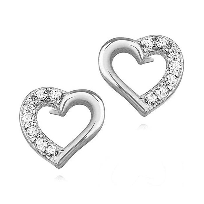 Srebrne kolczyki serce z cyrkoniami