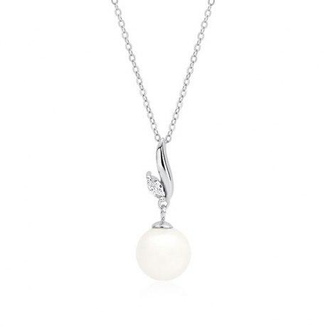 Srebrny, ślubny naszyjnik z perłą