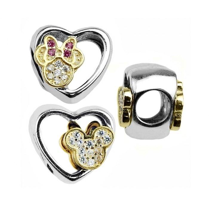 Srebrny koralik modułowy Mickey i Minnie Beads