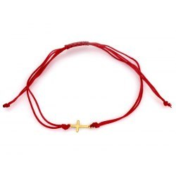 Złota 585 czerwona bransoletka z krzyżem
