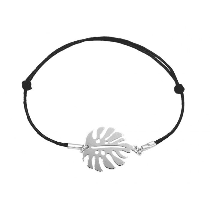 Srebrna sznurkowa bransoletka liść monstera