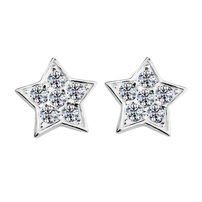 Srebrny komplet gwiazdki z cyrkoniami