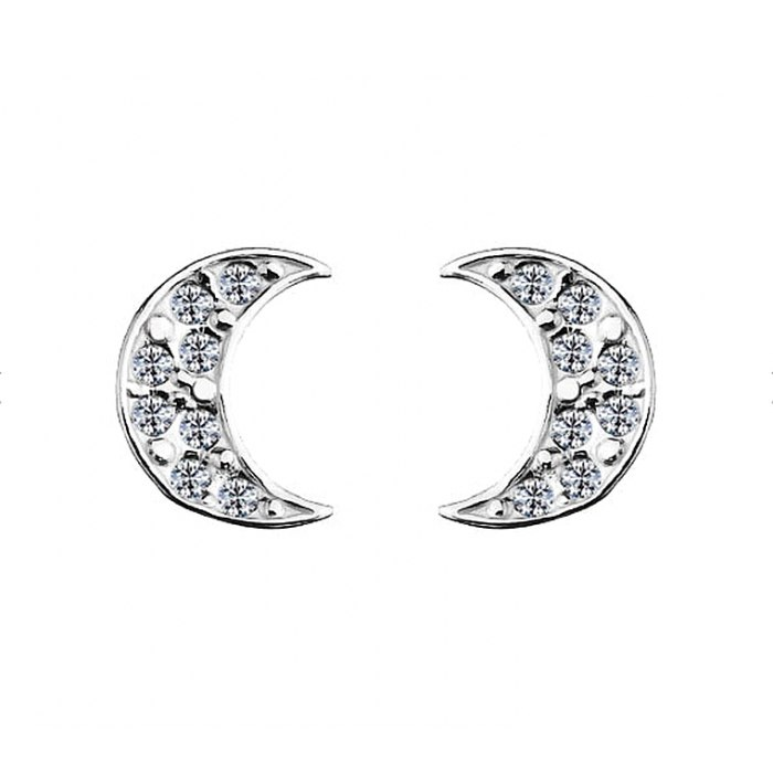 Srebrny komplet księżyc z cyrkoniami + pudełko