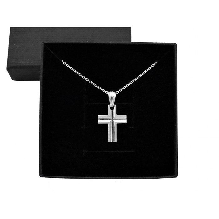 Srebrny naszyjnik z diamentowanym krzyżem + pudełko