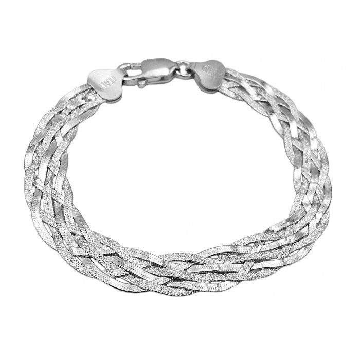 Srebrna bransoletka wąż taśma pleciona