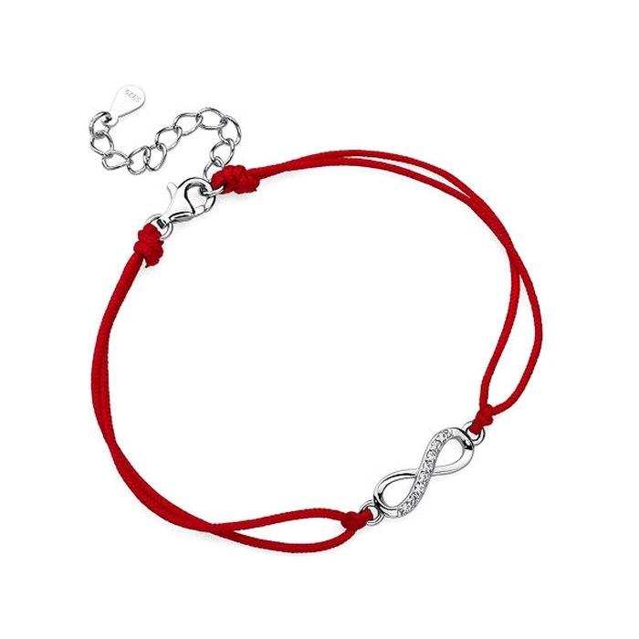 Czerwona sznurkowa bransoletka znak nieskończoności