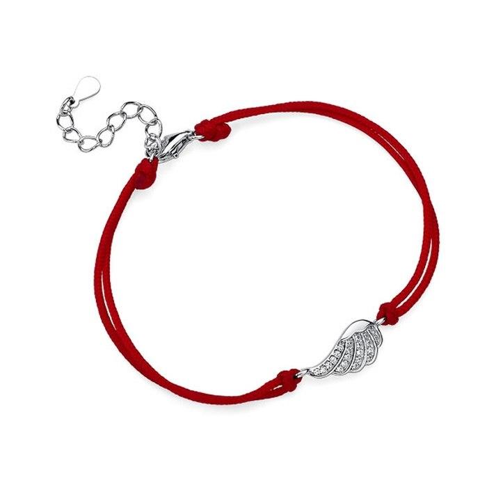 Czerwona sznurkowa bransoletka małe skrzydło
