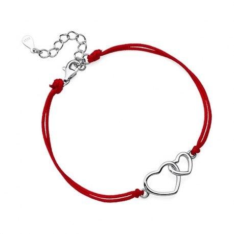 Czerwona sznurkowa bransoletka dwa serca