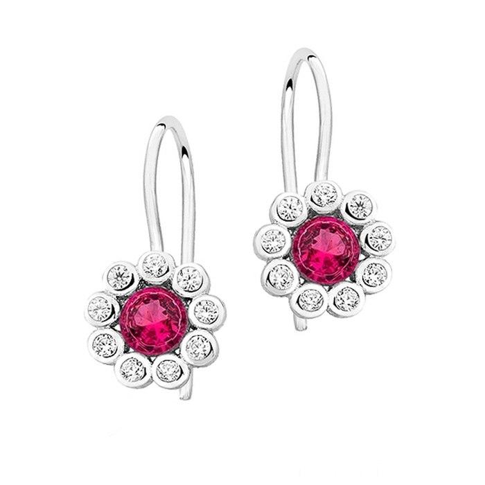 Srebrne kolczyki rubinowe kwiatuszki 2