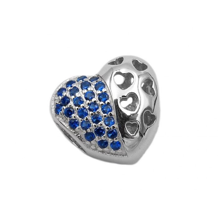 Srebrny koralik modułowy szafirowe serce Beads