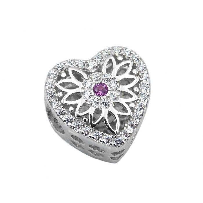 Srebrny koralik modułowy Beads serce z kwiatuszkiem