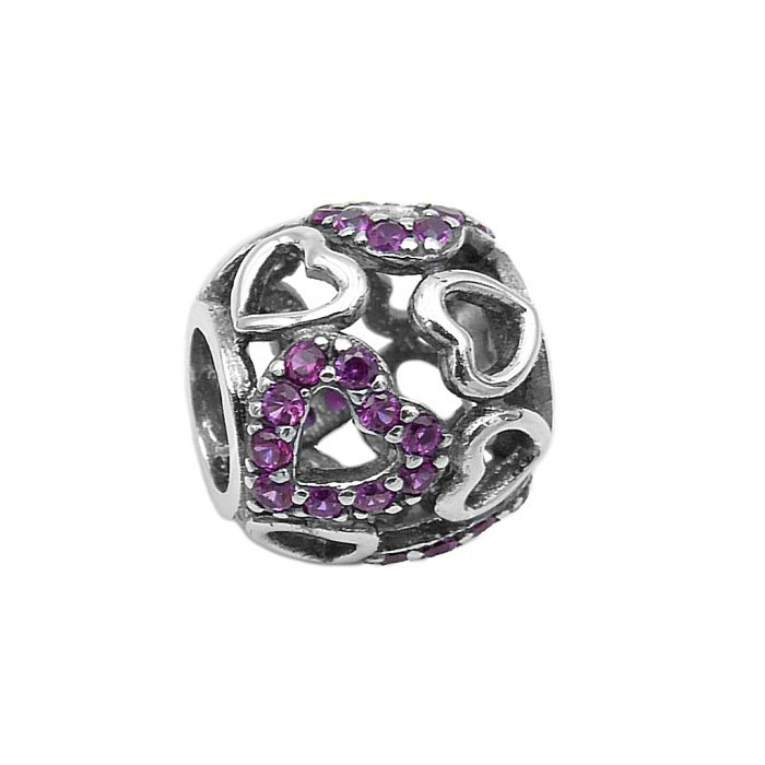 Srebrny koralik modułowy Beads serca fiolet