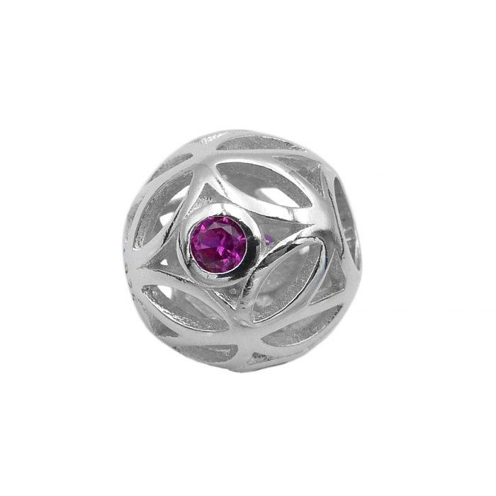 Srebrny koralik modułowy Beads z różową cyrkonią