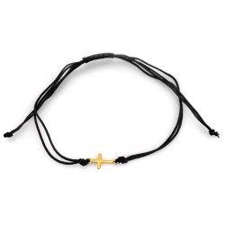 Złota 585 czarna bransoletka z krzyżem