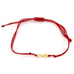 Złota 585 czerwona bransoletka znak nieskończoności + pudełko