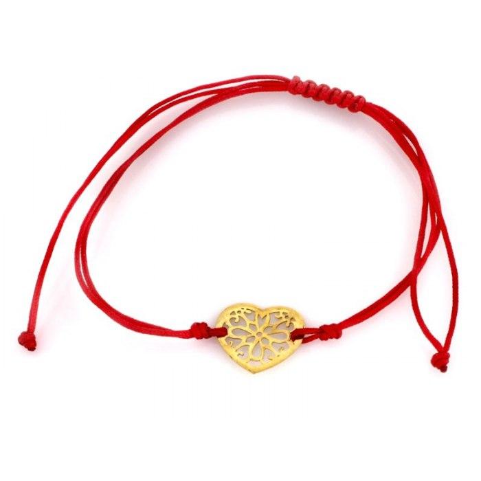 Złota 585 czerwona bransoletka ażurowe serce + pudełko