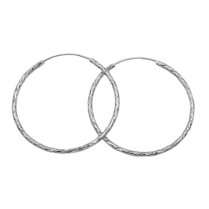 Srebrne diamentowane kolczyki koła 4 cm