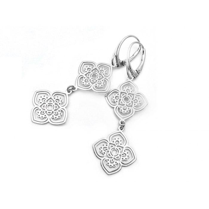 Długie srebrne kolczyki ornament + pudełko