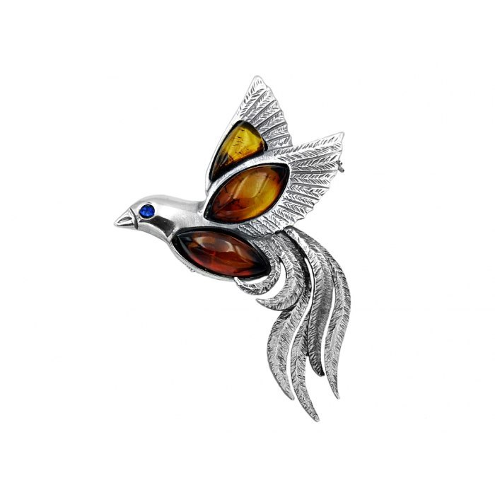 Duża broszka/wisiorek ptak z bursztynem + pudełko