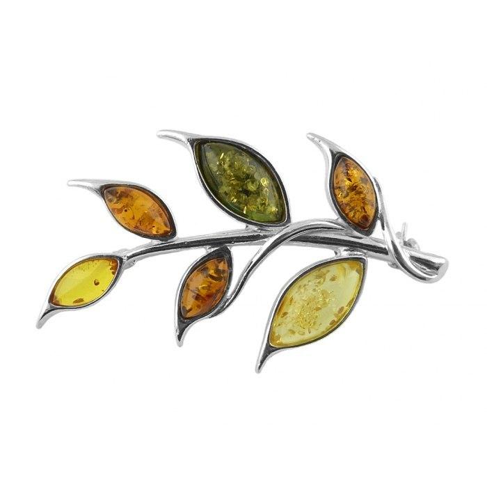 Srebrna broszka gałąź kolorowe liście bursztyn