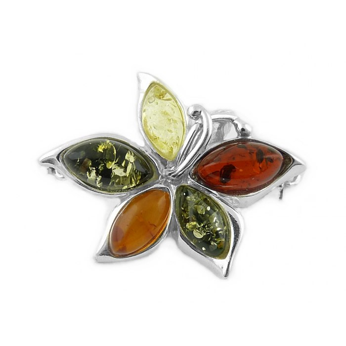Srebrna broszka kwiatek kolorowe bursztyny