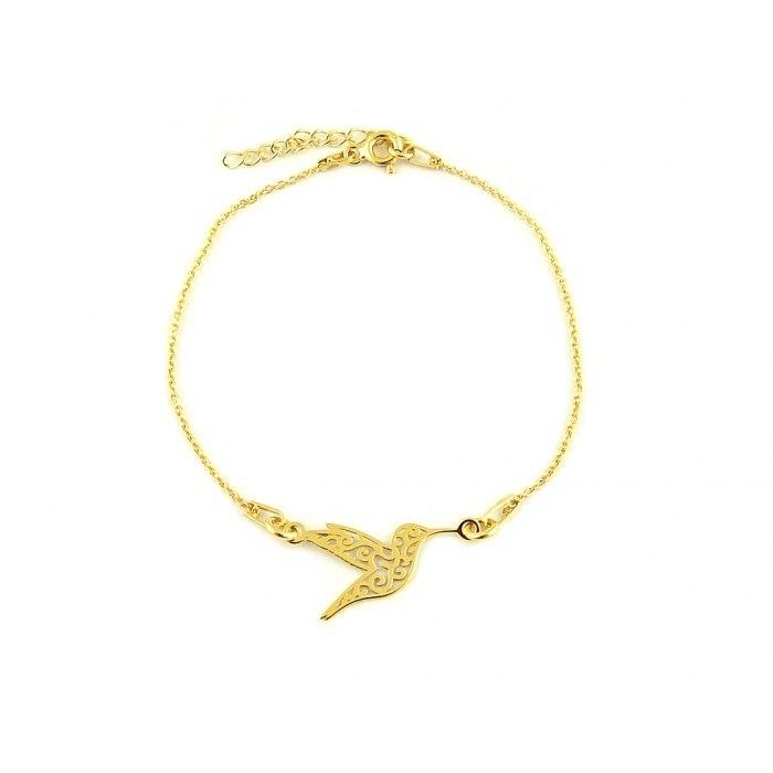 Pozłacana bransoletka ażurowy koliber