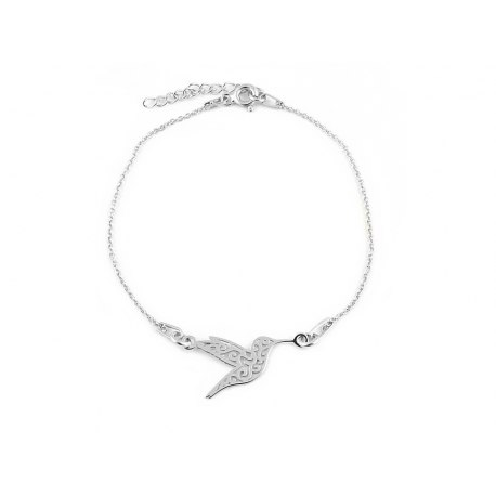 Srebrna bransoletka ażurowy koliber