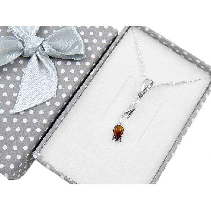 Srebrny naszyjnik tulipan z bursztynem + pudełko
